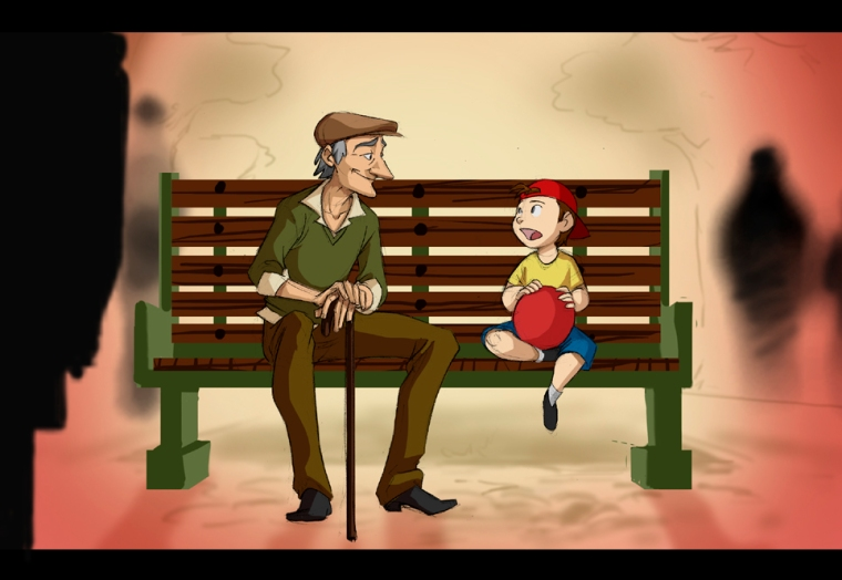 Little Boy Talks to Grandpa